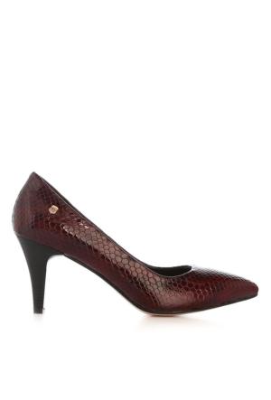 UK Polo Club 64703 Kadın Topuklu Ayakkabı Bordo Yılan Rugan