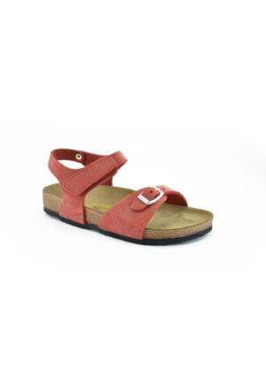 Real Natura 323-Venessa Kırmızı Nubuk Kız Çocuk Sandalet