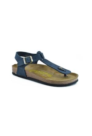 Real Natura 129-Parion Lacivert Nubuk Kadın Sandalet