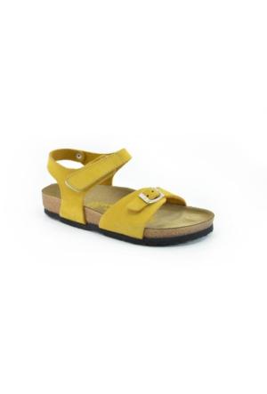 Real Natura 323-Venessa Sarı Nubuk Kız Çocuk Sandalet