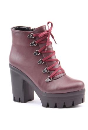 Siber 7229 Günlük Topuklu Termo Taban 10 cm bayan Bot Ayakkabı