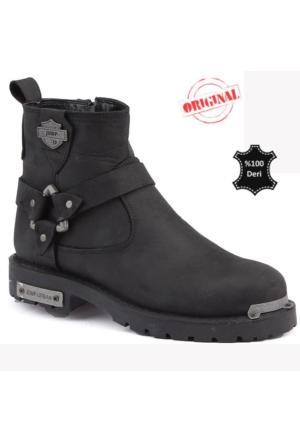 Jump 14532 B %100 Deri Motorcu Çizme Erkek Bot Ayakkabı