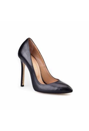 Cabani Yüksek Topuklu Stiletto Klasik Kadın Ayakkabı Siyah Metiz Deri