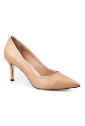 Cabani Stiletto Klasik Kadın Ayakkabı Bej Deri