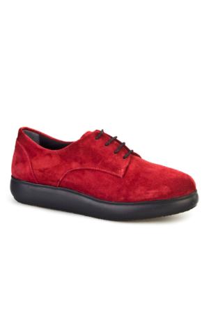 Cabani Bağcıklı Günlük Kadın Ayakkabı Bordo Süet