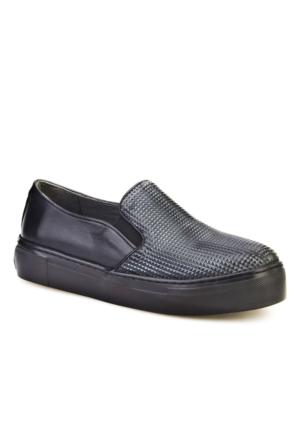 Cabani Prizma Baskılı Günlük Kadın Ayakkabı Siyah Baskılı Deri