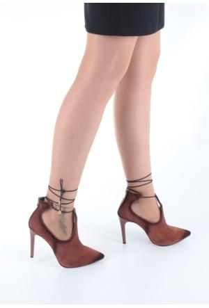 Erbilden Erb Taba Süet Bilekten Bağlamalı Arkadan Fermuarlı Bayan Topuklu Ayakkabı