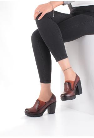Erbilden Tua Taba Cilt Lastikli Bayan Kalın Topuklu Ayakkabı