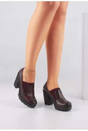 Erbilden Tua Bordo Cilt Lastikli Bayan Kalın Topuklu Ayakkabı