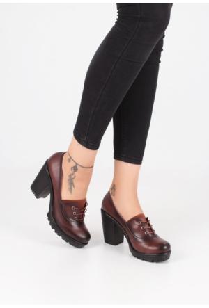 Erbilden Ayç Taba Cilt Bağcıklı Kalın Topuk Bayan Ayakkabı