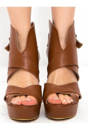 Mecrea Exclusive Adio Taba Dekolte Açık Burun Platform Topuklu Ayakkabı