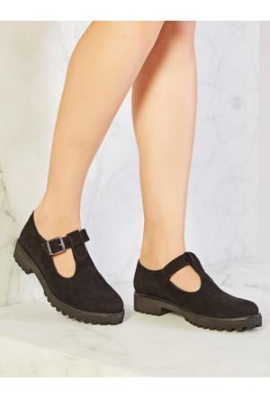 Mecrea Exclusive Amber Siyah Süet Tokalı Dekolte Loafer Ayakkabı