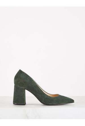 Mecrea Exclusive Bardot Haki Yeşil Süet Kalın Topuklu Stiletto