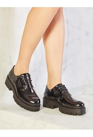 Mecrea Exclusive Bullet Siyah Mat Rugan Kalın Taban Loafer Ayakkabı