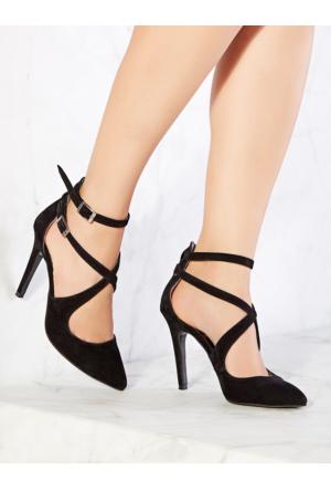 Mecrea Exclusive Camilla Siyah Süet Çapraz Bağlı Dekolte Topuklu Ayakkabı
