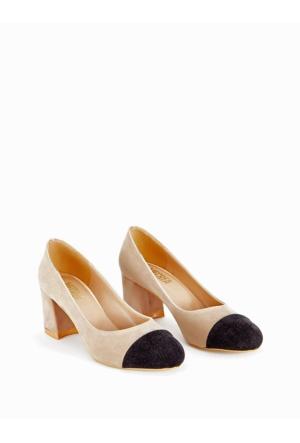 Mecrea Exclusive Cherry Bej Süet Siyah Kombin Topuklu Ayakkabı