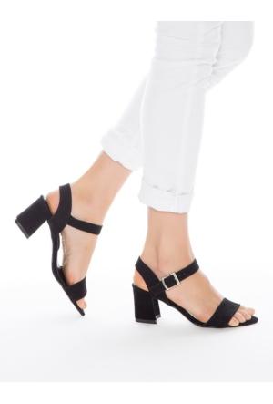 Mecrea Exclusive Dabney Siyah Süet Topuklu Sandalet