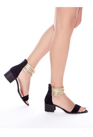 Mecrea Exclusive Denis Siyah Süet Bantlı Topuklu Sandalet