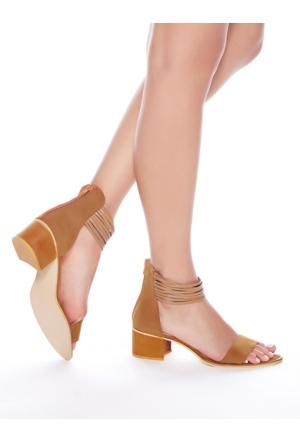 Mecrea Exclusive Denis Taba Süet Bantlı Topuklu Sandalet