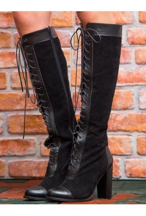 Mecrea Exclusive Desiret Siyah Kombin Topuklu Çizme