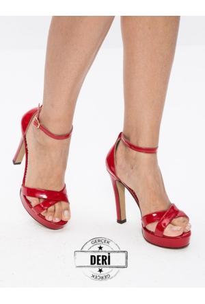 Mecrea Exclusive Durden Kırmızı Gerçek Rugan Dekolte Platform Topuklu Ayakkabı