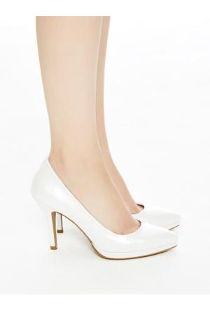 Mecrea Exclusive Elles Beyaz Hakiki Deri Platform Topuklu Stiletto