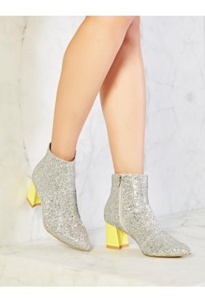 Mecrea Exclusive Emalena Gümüş Simli Sarı Topuklu Bot