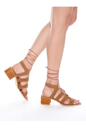 Mecrea Exclusive Florida Taba Süet Sarmal Bağlı Topuklu Sandalet