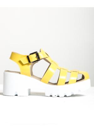 Mecrea Exclusive Gladiator Sarı Mat Rugan Sandalet