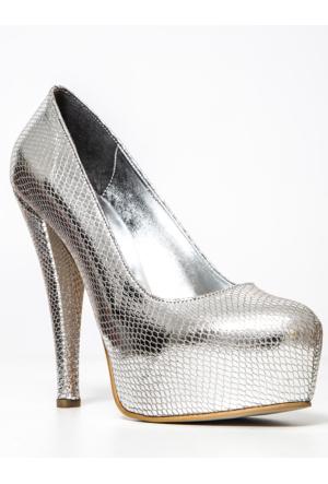 Mecrea Exclusive Gümüş Yılan Platform Topuklu Ayakkabı