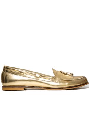 Mecrea Exclusive Jack Püsküllü Altın Loafer Ayakkabı