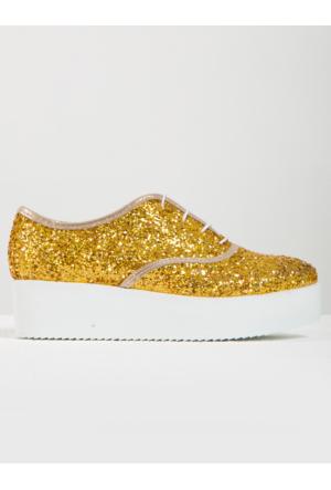 Mecrea Exclusive Jackson Altın Simli Yüksek Taban Loafer Ayakkabı