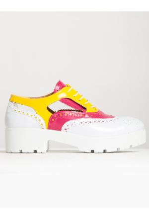 Mecrea Exclusive Jackson Cut Out Beyaz Fuşya Kombin Loafer Ayakkabı