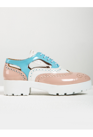Mecrea Exclusive Jackson Cut Out Pudra Beyaz Kombin Loafer Ayakkabı