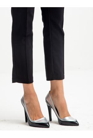 Mecrea Exclusive Jeffrey Gümüş Siyah Kombin Topuklu Ayakkabı