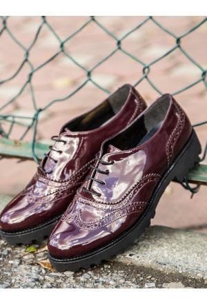 Mecrea Exclusive Jerry Bordo Rugan Kalın Taban Loafer Ayakkabı