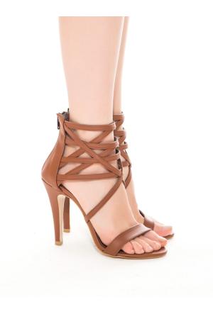 Mecrea Exclusive Katrine Taba Pencereli Topuklu Sandalet