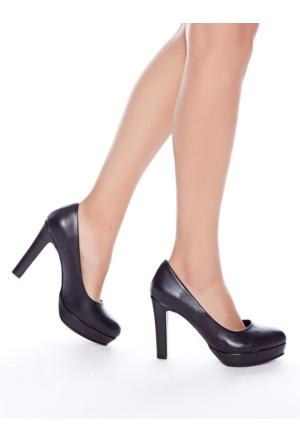 Mecrea Exclusive Lisa Siyah Platform Topuklu Ayakkabı