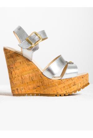 Mecrea Exclusive Mandy Gümüş Tokalı Mantar Dolgu Topuk Ayakkabı