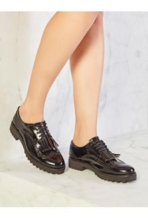 Mecrea Exclusive Manhattan Siyah Mat Rugan Püsküllü Kalın Taban Loafer Ayakkabı