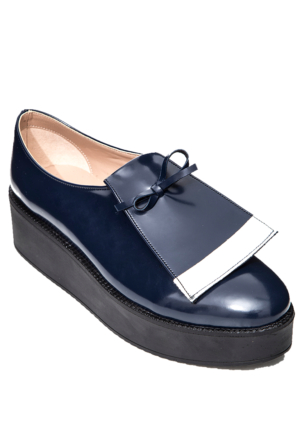Mecrea Exclusive Marina Yüksek Topuk Lacivert Loafer Ayakkabı