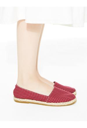 Mecrea Exclusive Meis Bordo Beyaz Benekli Espadril Ayakkabı