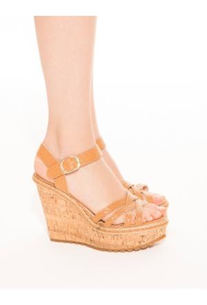 Mecrea Exclusive Mendika Taba Hasır Detaylı Dolgu Topuklu Sandalet