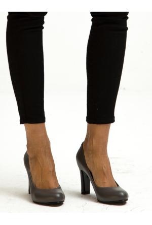 Mecrea Exclusive Miami Gri Gova Kalın Topuklu Ayakkabı