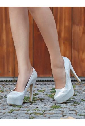 Mecrea Exclusive Monroe Gümüş Simli Platform Topuklu Ayakkabı
