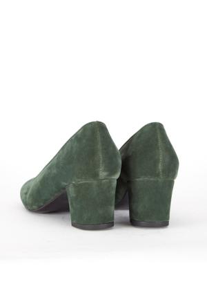 Mecrea Exclusive Petite Haki Yeşil Süet Düşük Topuklu Ayakkabı