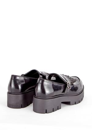 Mecrea Exclusive Plaza Siyah Mat Rugan Püsküllü Kalın Taban Loafer Ayakkabı