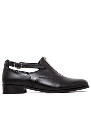 Mecrea Exclusive Rashna Siyah Dekolte Loafer Ayakkabı