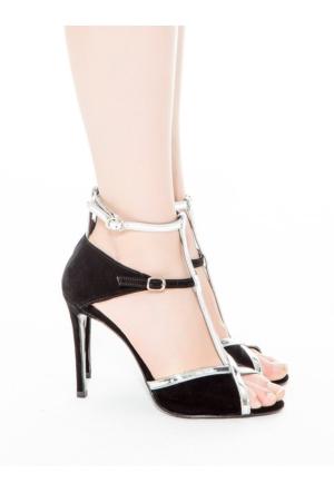 Mecrea Exclusive Rizzo Siyah Süet Gümüş Kombin Dekolte Açık Burun Topuklu Ayakkabı