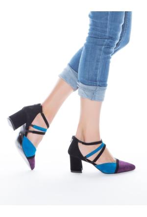 Mecrea Exclusive Trio Üç Renk Kombin Topuklu Ayakkabı